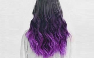 Фиолетовое омбре на темные волосы